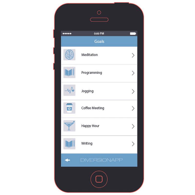 Diversion App Goals Screen