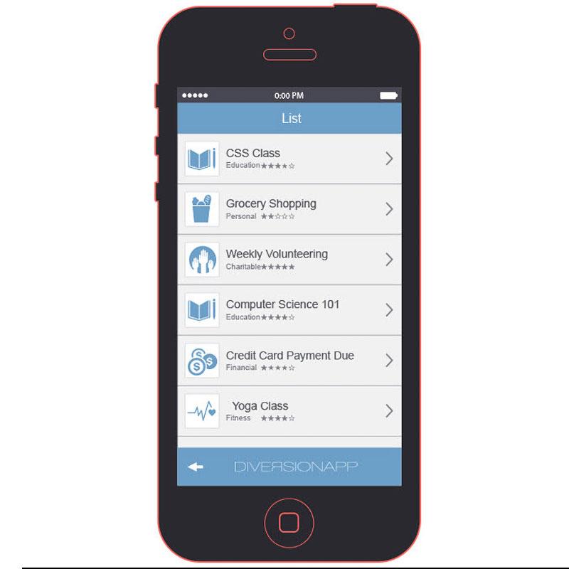 Diversion App List Screen