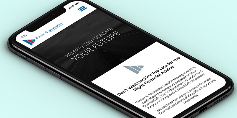 Wilson & Associates Home page mobile mock up